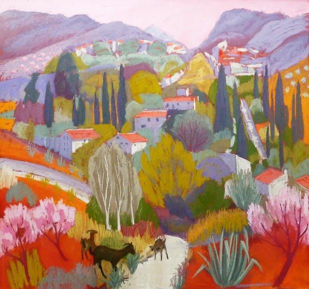 Sue Campion: 'Goats at La Molinetta', pastel, 34x36