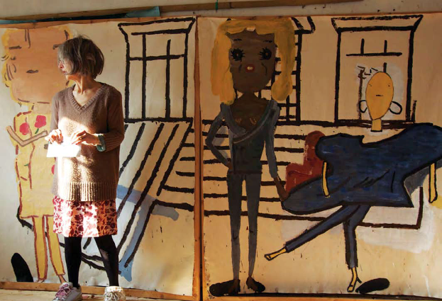 Rose Wylie in her studio