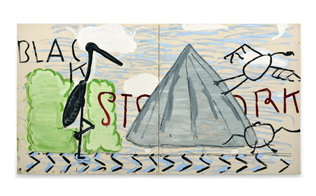 Rose Wylie: 'Black Stork', 2012, Oil on Canvas 184 x 346cm  Courtesy of the Artist and UNION Gallery