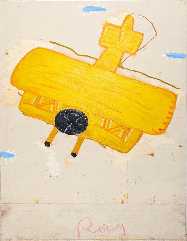 Rose Wylie: 'Ray's Yellow Aeroplane' Oil on Canvas Courtesy of the Artist and UNION Gallery