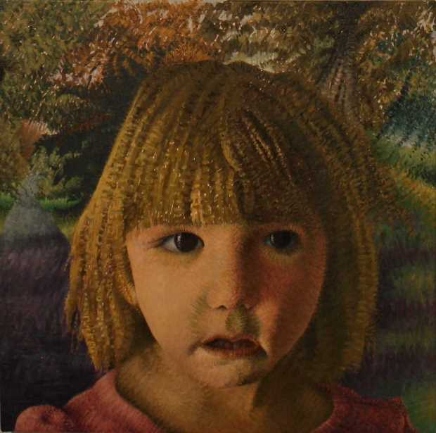 Godfrey Blow: 'Young Child At The Entrance to the Enchanted Wood', oil on linen,  50cm x 50cm