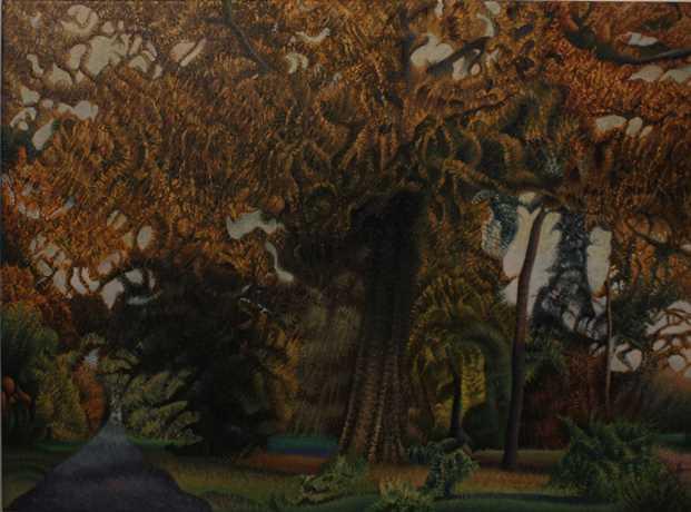Godfrey Blow: 'Entrance to the wood', oil on Belgian linen, 71 x 97cm