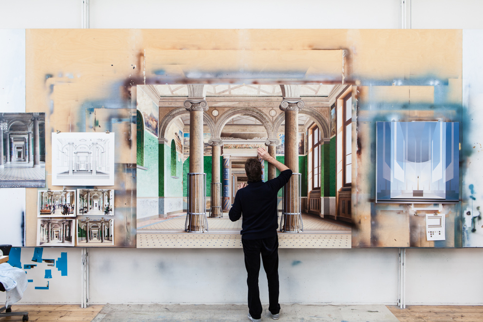 Ben Johnson: At work on 'Roman Room', 180cm x 237cm, acrylic on canvas
