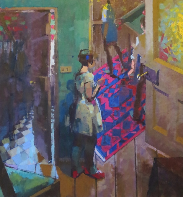James Bland: 'The Children's Room', oil on canvas, 76cm x 71cm