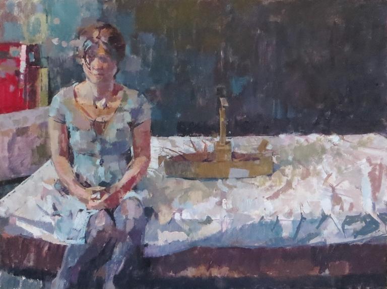 James Bland: 'Woman with a Battleship', oil on canvas, 46cm x 66cm