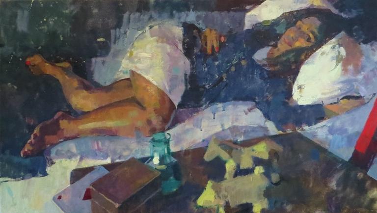 James Bland: 'Harpreet', oil on canvas, 40cm x 76cm