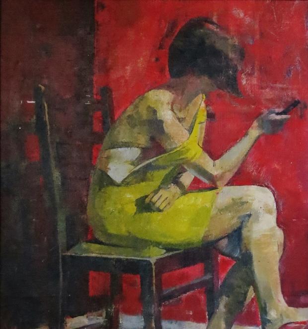 James Bland: 'Lime Green Dress', oil on canvas, 40cm x 38cm