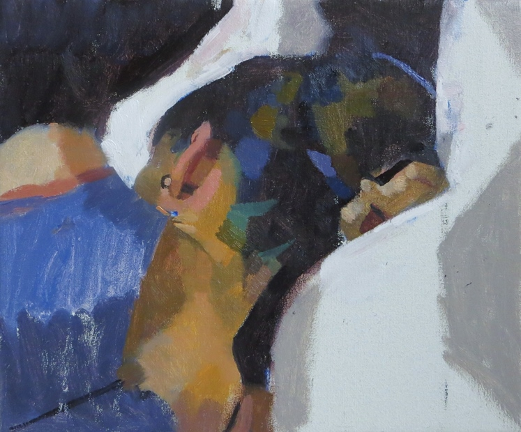 James Bland: 'Louise Reclining', oil on canvas, 25cm x 30cm