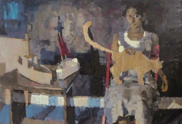 James Bland: 'Night Studio', oil on canvas, 56cm x 82cm
