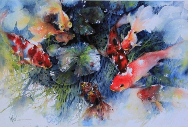 Lian quan zhen jackson 39 s art blog for Koi und goldfisch