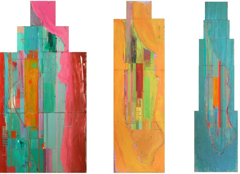 Ashley Hanson: 'Tower Triptych (City of Glass 16, 17 & 19)', oil on canvas, dimensions variable