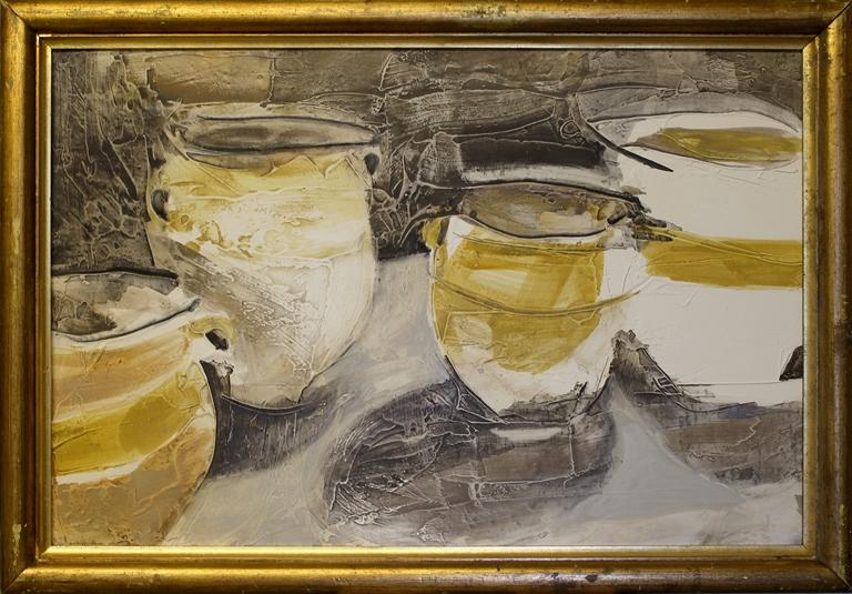 Chloë Holt RCA FRSA: 'Enshrine', oil and gesso on board in antique frame, 40 x 28 ins (102 x 71 cms)