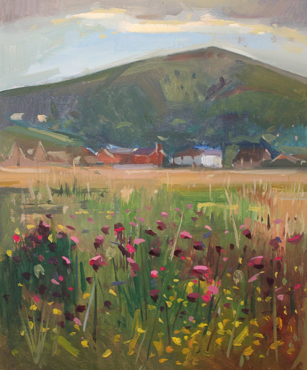 "Antony Bridge: 'Malvern Hills', oil on board, 10"" x 12"""