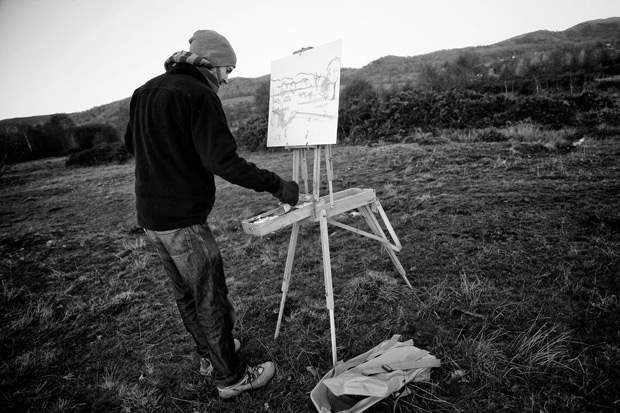Antony Bridge working at his french easel