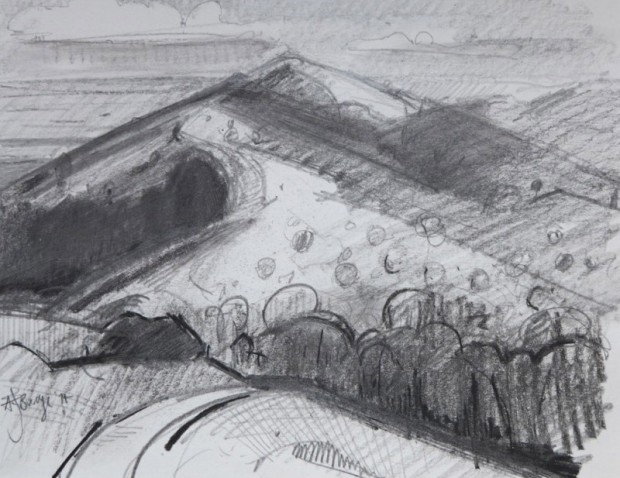 Antony Bridge: 'Malvern Hills', charcoal drawing