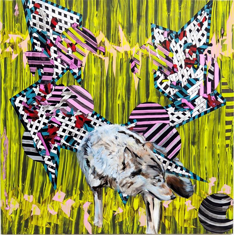 Tina Jenkins: 'Collider', acrylic and gloss on plastic sheeting, 170cm x 170cm