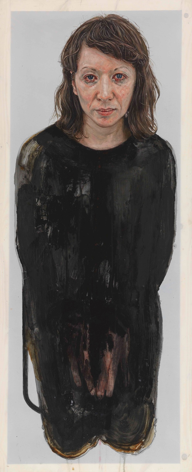 Emma Hopkins: 'Debra Welch', oil, metal paint, door paint, wood varnish and pencil on polyester, 120x49cm