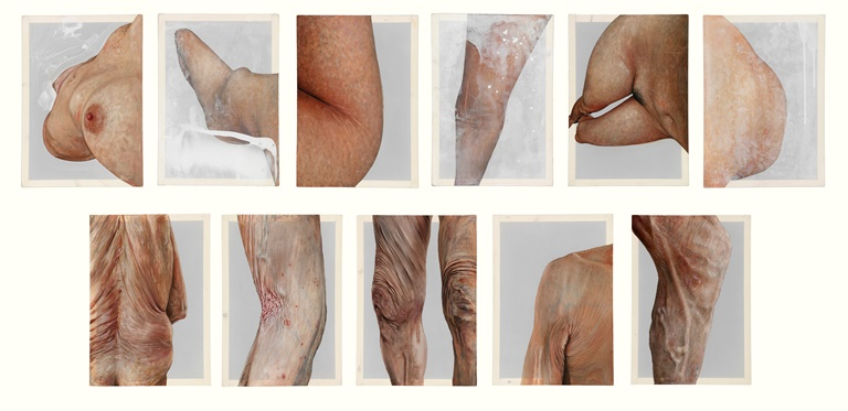 Emma Hopkins: 'Gender,age and Painting', oil on polyester, 42x29.5cm each