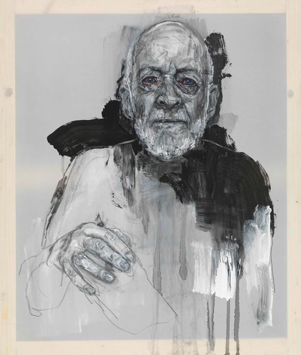 Emma Hopkins: 'Geri Morgan sketch', pencil, primer, door paint and oil on polyester, 71 x 60cm