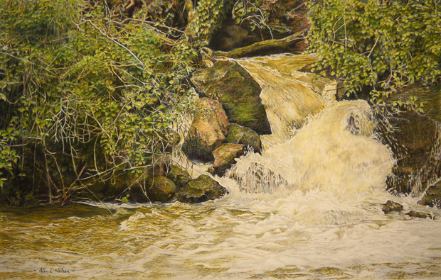 Peter Nelson: 'Foix Fall', coloured pencil on paper