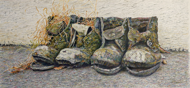 Peter Nelson: 'The Four Jolly Old Men of Lydford', coloured pencil on paper