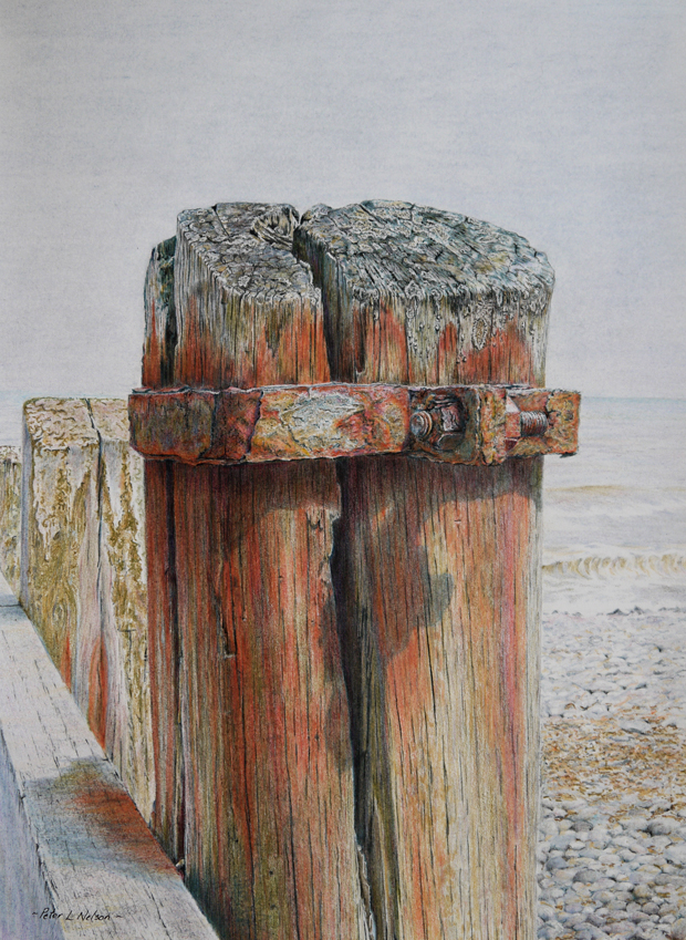 Peter Nelson: 'Wave Damage', coloured pencil on paper