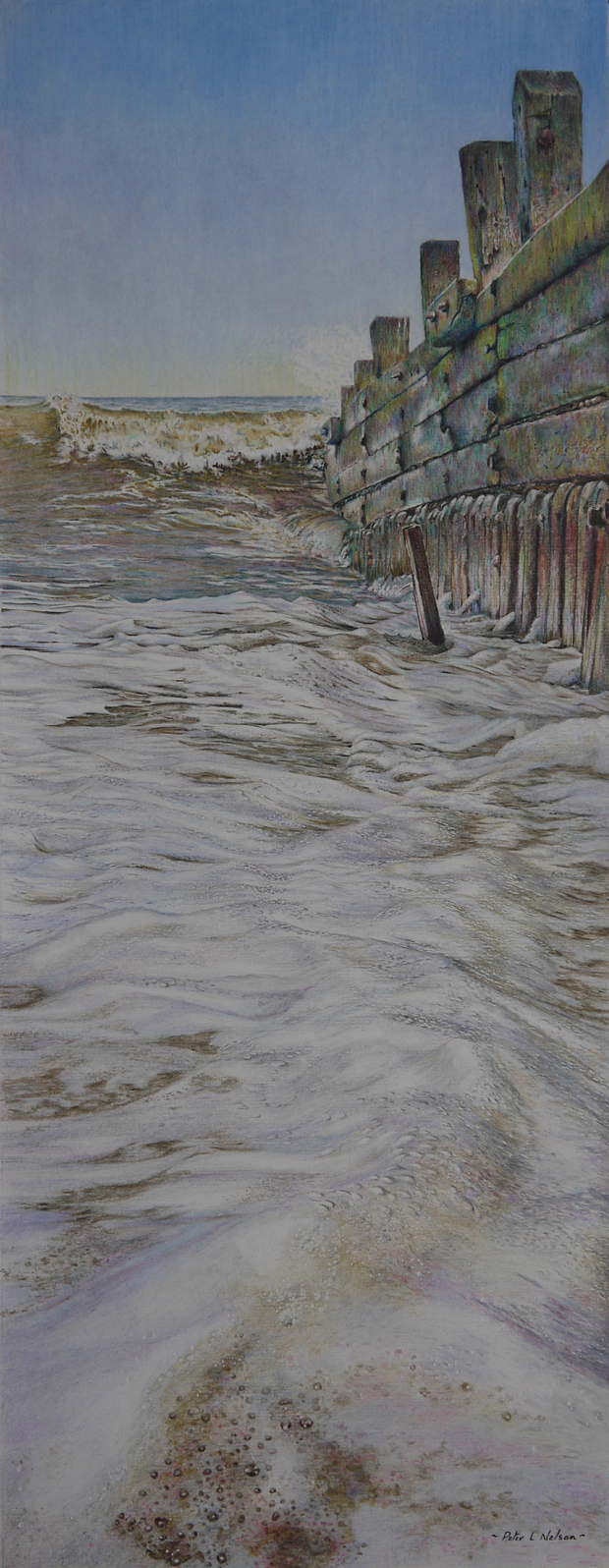 Peter Nelson: 'Wave Foam', coloured pencil on paper