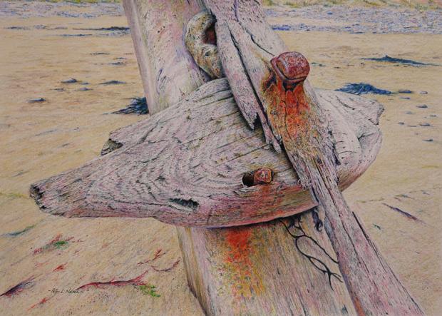 Peter Nelson: 'Wave Sculpture', coloured pencil on paper