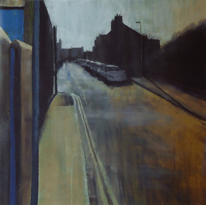 Lindsey Lavender: 'Alleyway No.8', acrylic on paper, 60x60cm