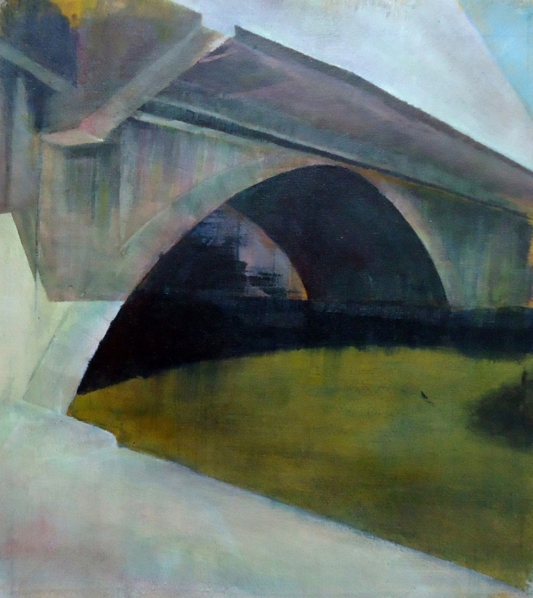 Lindsey Lavender: 'Bridge No.4', oil on canvas, 35x35cm