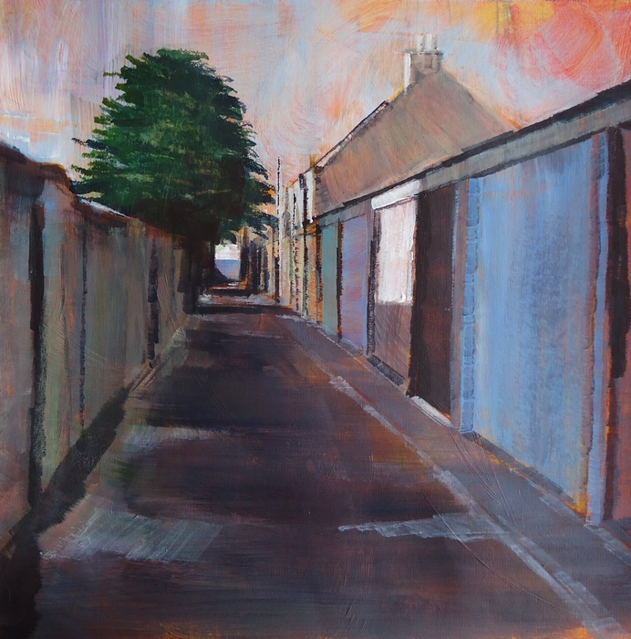 Lindsey Lavender: 'Lane 2', acrylic on paper, 30x30cm