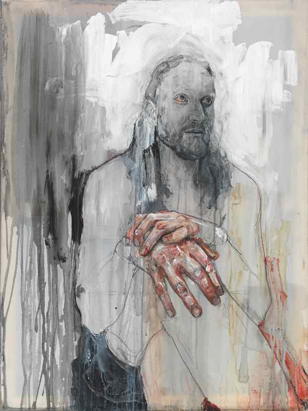 Emma Hopkins: 'Rait', oil, pencil, emulsion paint and coffee on polyester, 101x75.5 cm