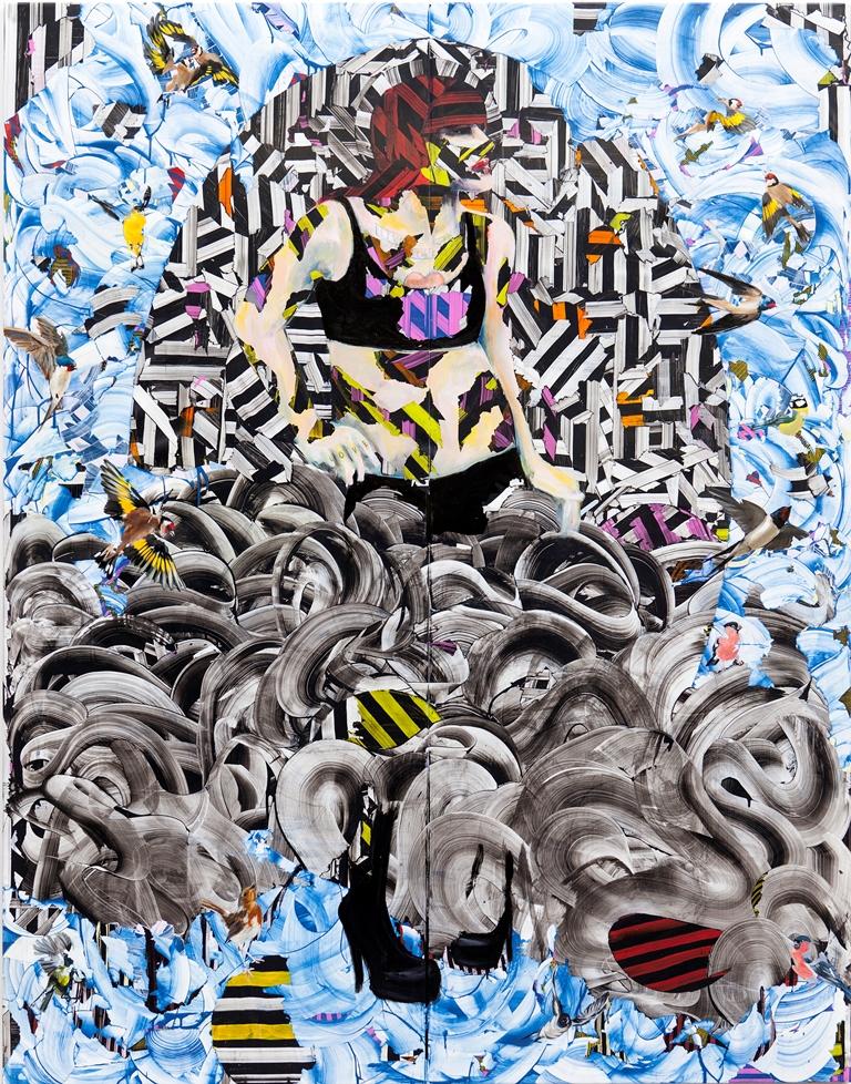 Tina Jenkins: 'She's My Man',  acrylic and gloss on plastic sheeting,  220cm x 172cm