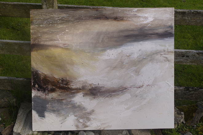 Early stages of painting over textured gesso (image courtesy of the artist)
