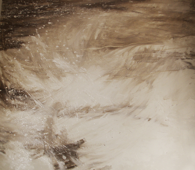 Final textured layer of gesso coloured with a small piece of peat (image courtesy of the artist)