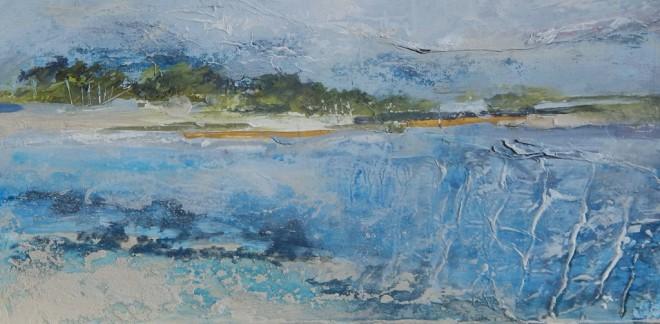 Tracey Ross: 'Wells-East Hills - Rushing Tide', mixed media, 40cm x 25cm
