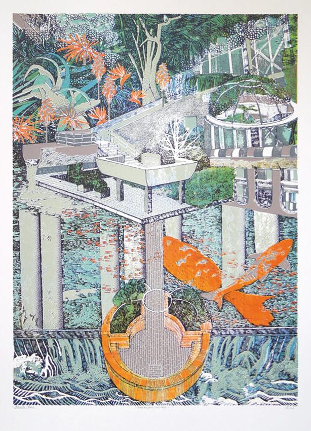 Lucille Clerc: 'Barbican Centre', screen print, 50 x 70cm