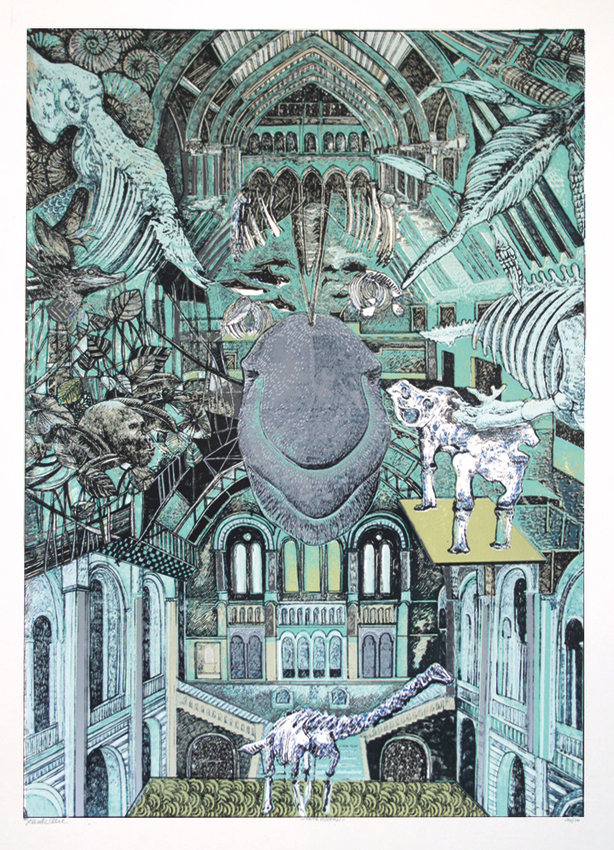 Lucille Clerc: 'Natural History Museum', screen print, 50 x 70cm