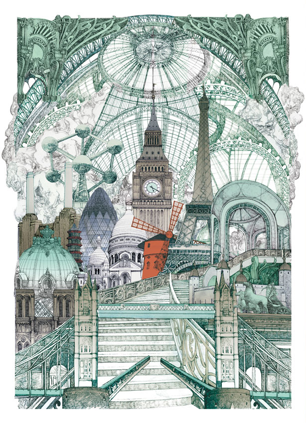 Lucille Clerc: 'London Paris Brussels', screen print, 56 x 76cm