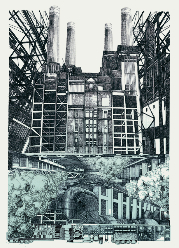 Lucille Clerc: 'Battersea', screen print, 50 x70cm