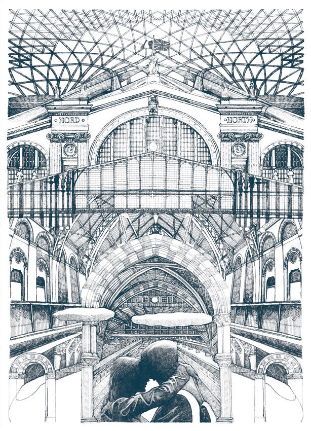 <br> Lucille Clerc: 'St Pancras/Gare du Nord', limited edition screen print
