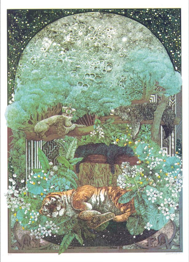 Lucille Clerc: 'Jungle Book - Night In The Jungle', screen print, 50 x 70cm
