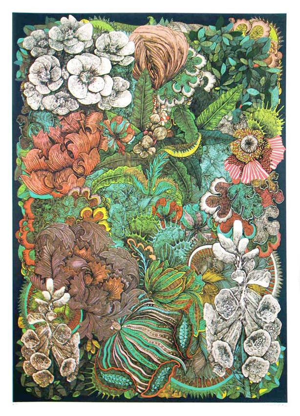 Lucille Clerc: 'Jungle Book - Wild Flowers', screen print, 50 x 70cm
