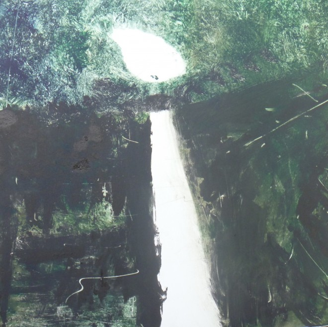 Lesley Birch: 'Heaven's Path', Monoprint with Drypoint, 29 x 29 cms