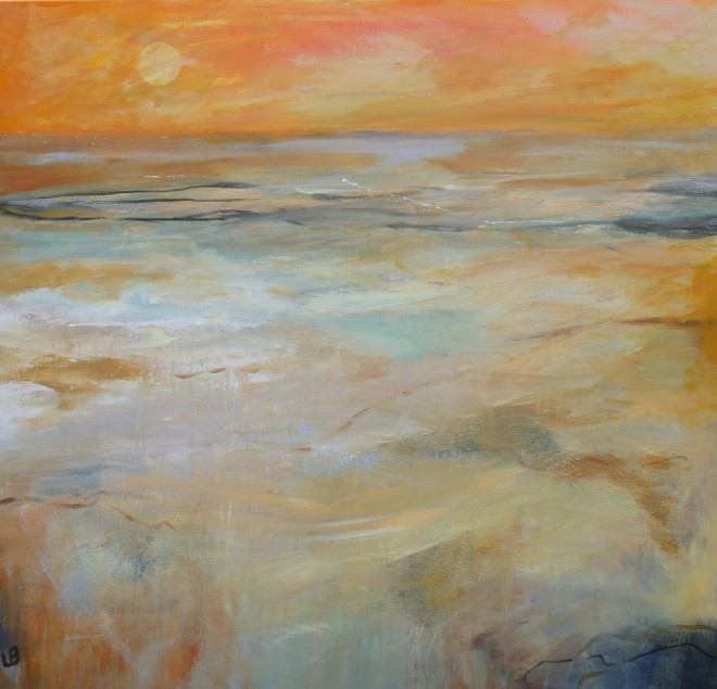 Lesley Birch: 'Evening Sands', Acrylic & Ink on Canvas, 100 x 100 cms