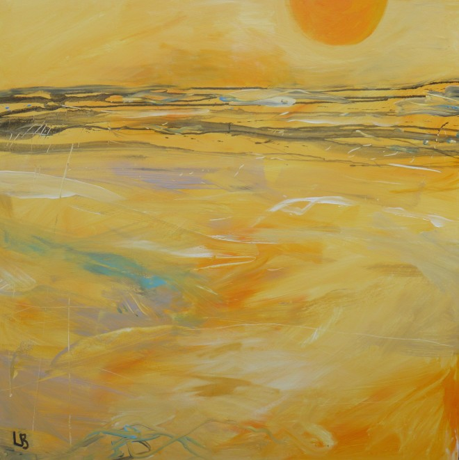 Lesley Birch: 'Second Dawn', Acrylic & Ink on Canvas, 100 x 100 cms
