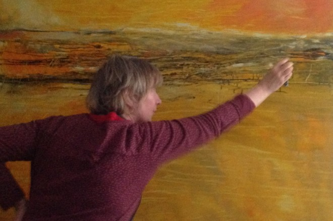 Lesley Birch working on a large canvas
