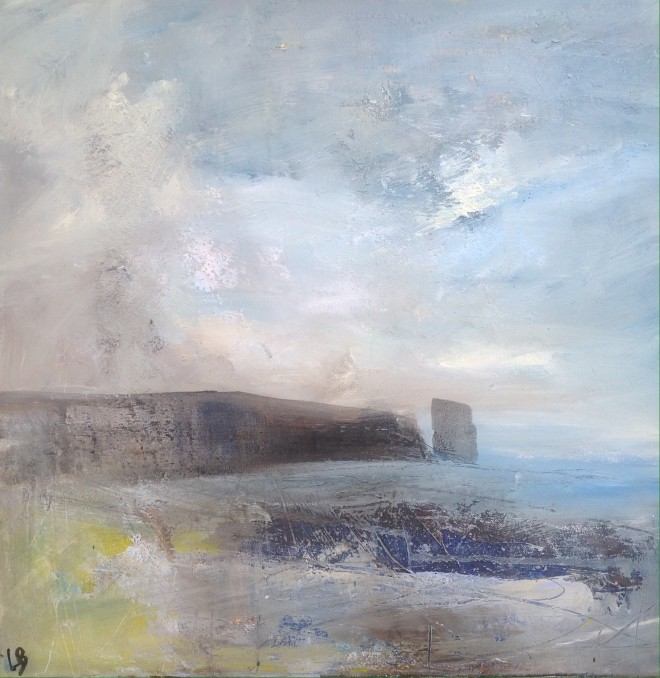 Lesley Birch: 'Ireland Stack', Mixed Media on Canvas, 51 x 51 cms