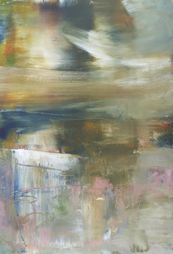 Lesley Birch: 'Ancient Memory', Oil & Wax on 300gsm Arches Paper, 36.6 x 25.5 cms