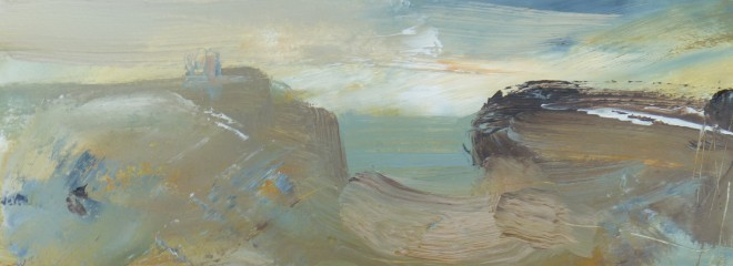 Lesley Birch: 'Space Between', Oil & Wax on 300gsm Arches Paper, 12.5 x 33 cms